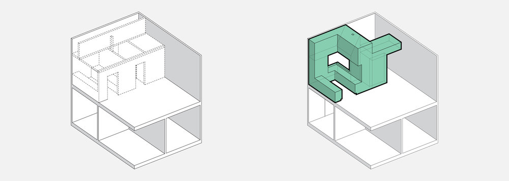 Demolished existing partitions, inserted storage armature