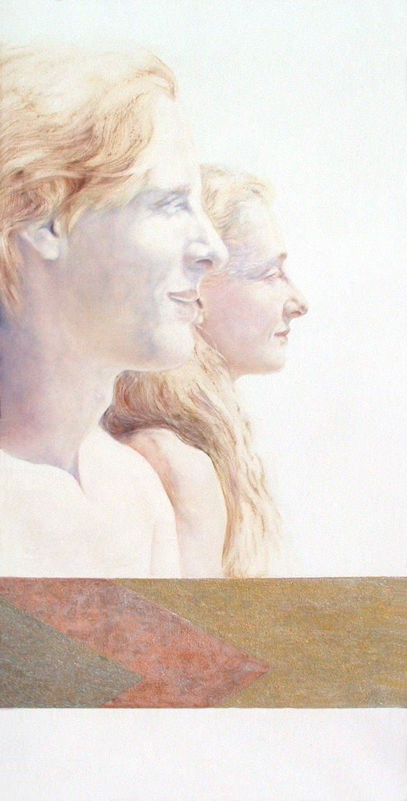 TRANSLUCENT TWINS  2001  oil and acrylic on French linen  32 x 16in. (81.2 x 40.6cm.)  NFS