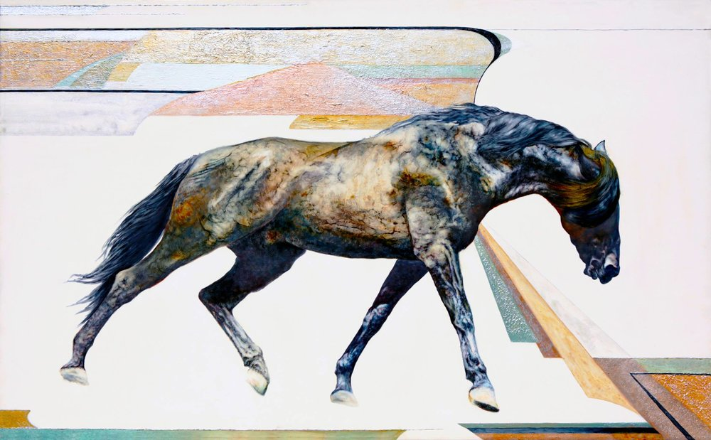 WHITE DESERT STALLION  2000 oil and acrylic on French linen 32 x 52in. (81.3 x 132.8cm.)  For Sale  ________________________