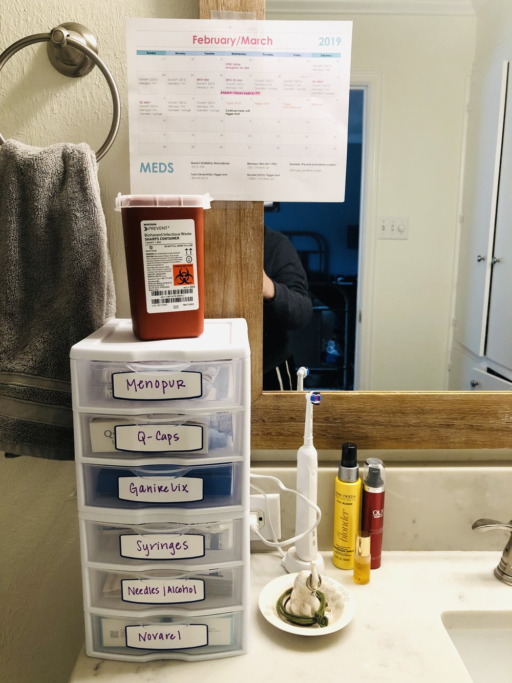 I don't have the biggest Master bath, so I went up with my organization instead of out! Some of the medications require refrigeration, which drives me nuts because I want everything in one place. Oh well. :)