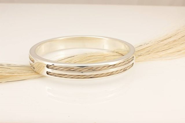 One off bangle, sterling silver and horsehair.  www.equinelox.com.au