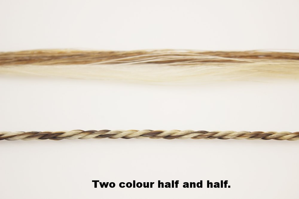 Half of each strand in each colour.