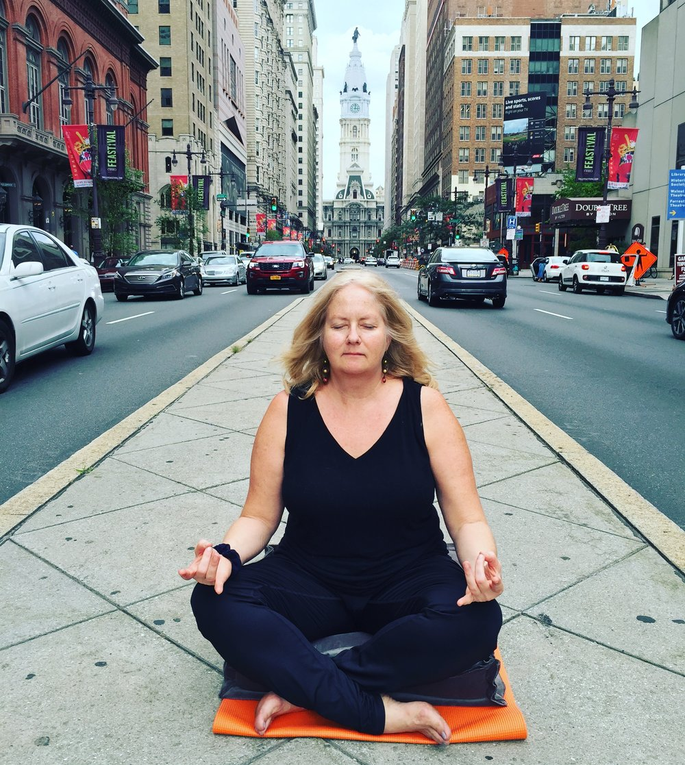 Kathy Harmer in  White Woman Meditates on White Privilege: An All Too True Story  by Gabrielle Corsaro.