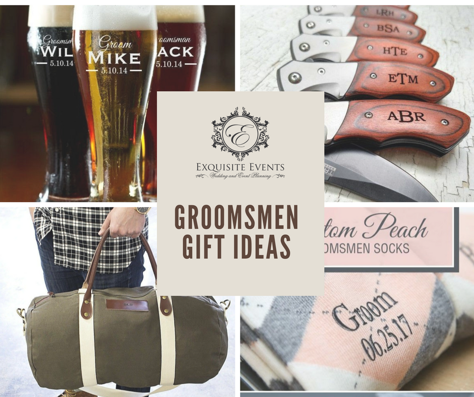 Groomsmen Gift Ideas - 1. Personalized Cigarette Lighter2. Stainless Steel Personalized Mug3. Personalized Duffle Bag4. Personalized Socks5. Personalized Pocket Knives6. Personalized Men Essential Case7. Personalized Yeti Tumblers8. Personalized Wrist Watch9. Personalized Beer Glass10. Personalized Cufflinks11. Personalized Dog Tags12. Personalized Flask