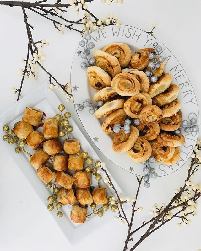 Easy canapés for Christmas entertaining..delicious homemade herby sausage rolls and cheese & marmite pinwheels...always a winner with the kids