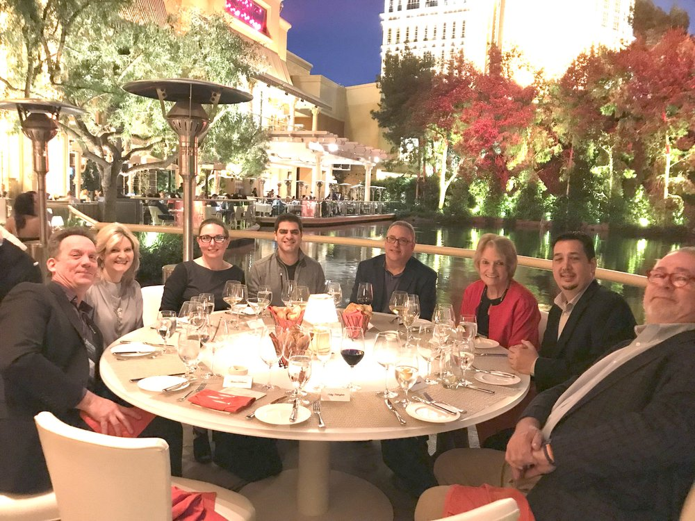 Industry analysts enjoying a fabulous dinner together before Ultimate Connections Conference in Las Vegas
