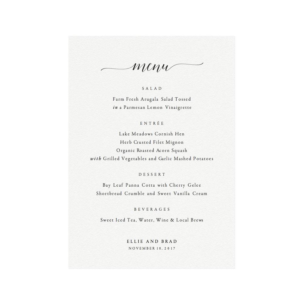Adel Printable Wedding Menu Template Simply Suite