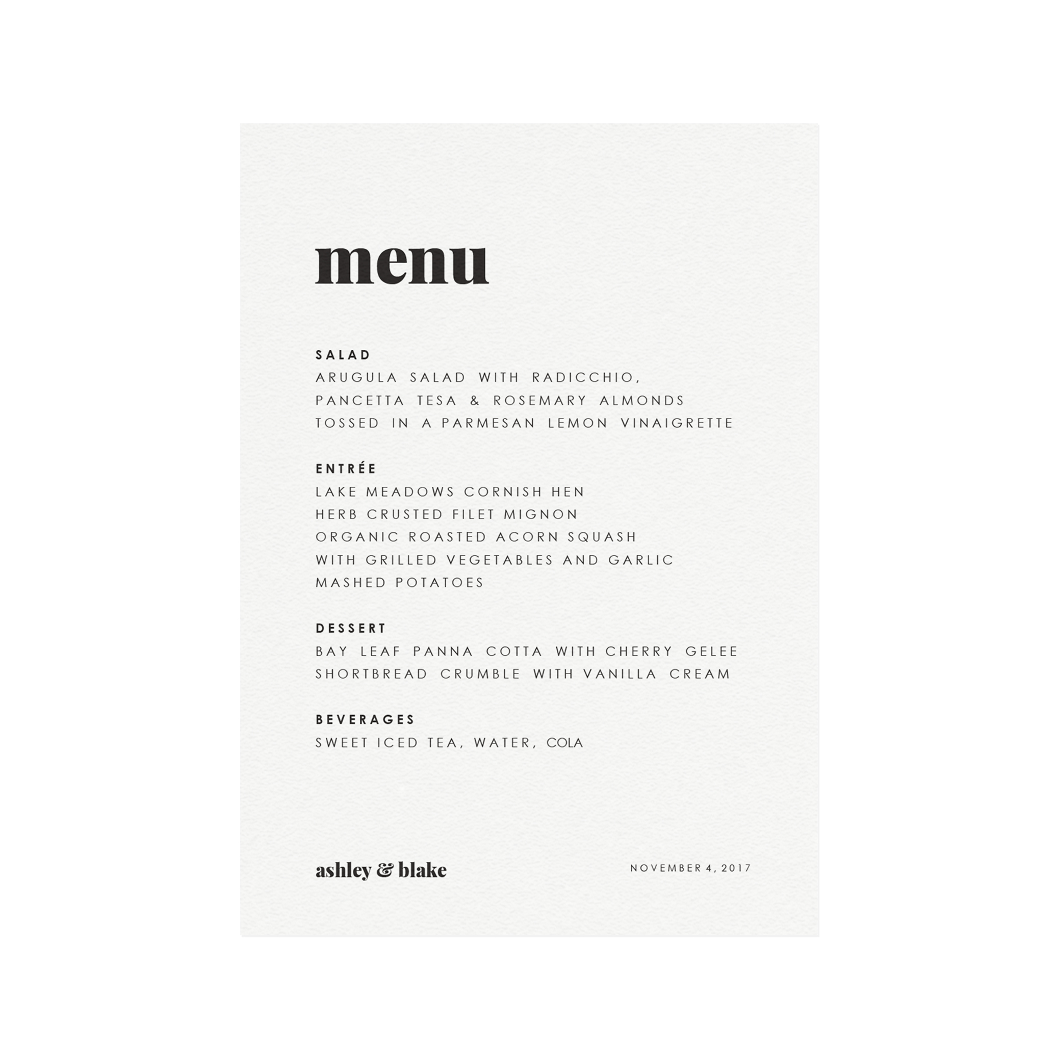 picture about Printable Dinner Menu identify Fairfax Printable Wedding ceremony Meal Menu Template Conveniently Suite