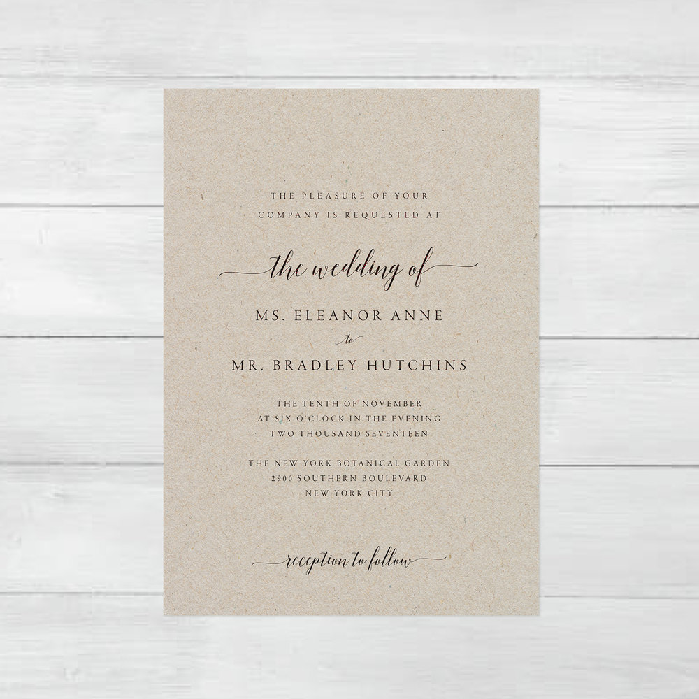 4. Kraft paper invites - Kraft paper is a perfect alternative to basic card stock. Not to mention the natural vibe that it adds to your wedding invitation! Printing your Simply Suite template on kraft paper is sure to make your invitation stand out from the rest! See the full invitation suite, here!