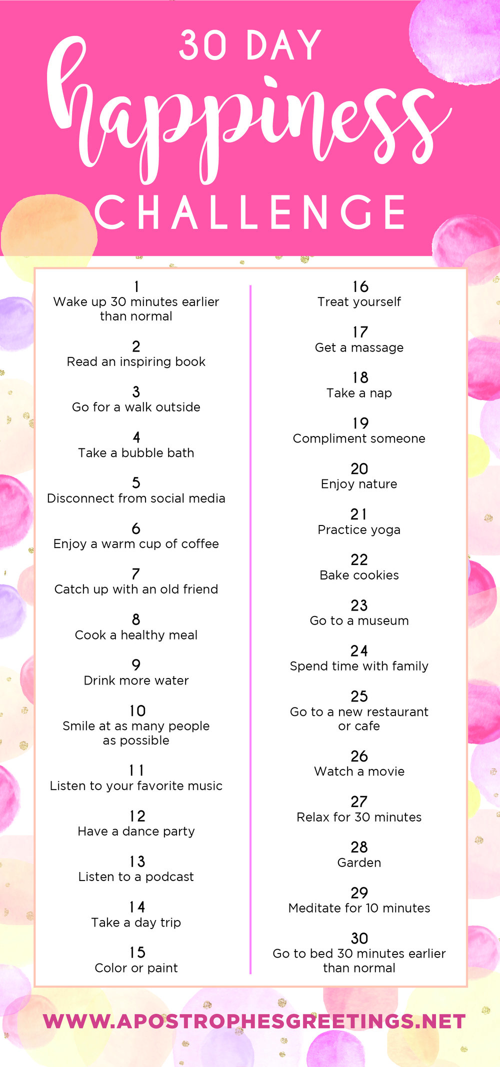 Take the 30 Day Happiness Challenge! — Apostrophe S Greetings