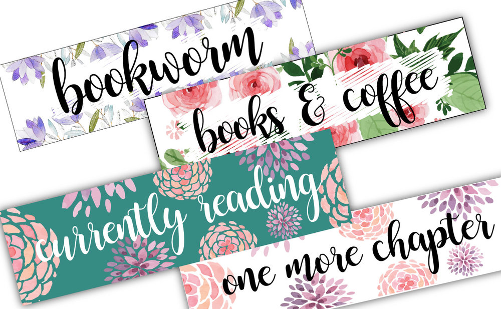 Set of 4 printable bookmarks - Simply print out on a standard 8 1/2 x 11 sheet of card stock, trim and start using!