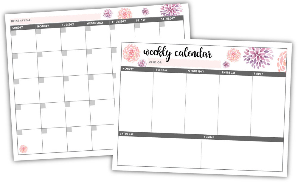 Monthly and Weekly Printable Calendar Pages - Designed to be easily printed out on a standard 8 1/2 x 11 sheet of paper.