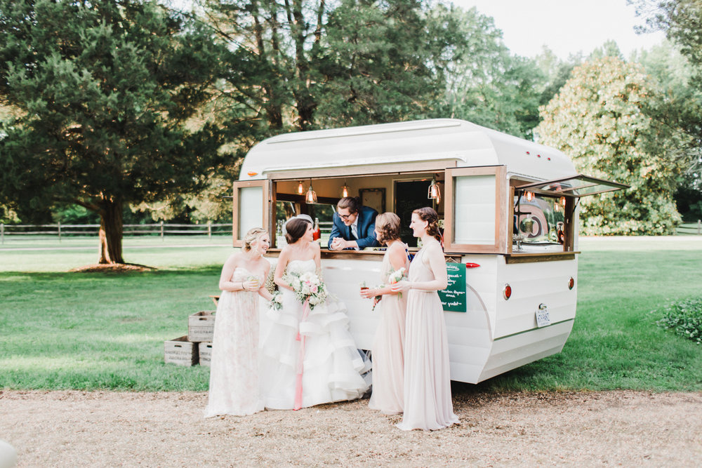 The Cozy Caravan Club Vintage mobile bar that can offer beer, wine and prosecco on tap, bloody mary or mimosa bars, boozy milkshakes and more! They can even offer organic cotton candy to your guests!  http://www.cozycaravanclub.com