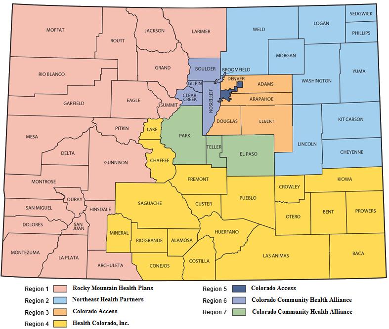 Colorado Behavioral Health Medicaid RAE Map