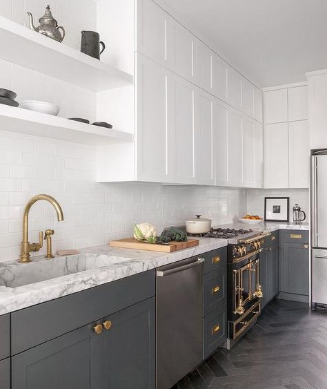 A simple one line border style profile to the cabinetry like this. (in black)