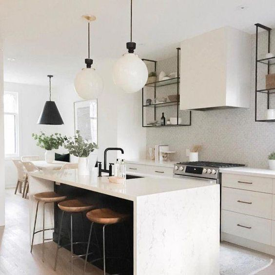 This style of open shelving, possibly that simple range hood style too.