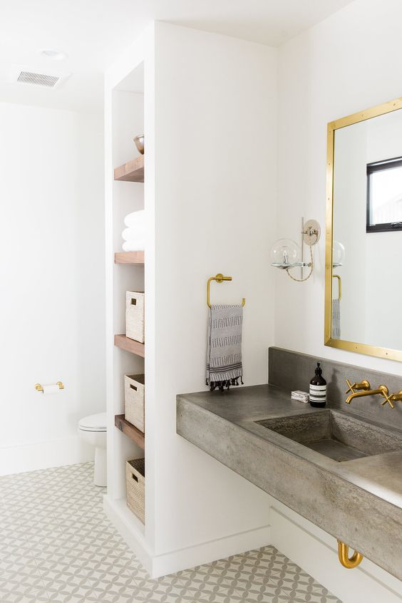 This bit of open shelving. and the floating concrete basin/vanity.