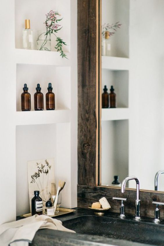 This little bit of extra shelving/storage space nook, if we didn't do a shaving cabinet mirror.