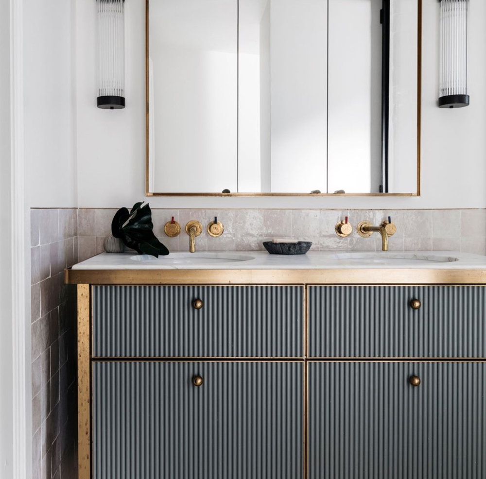 Brass gold, vanity cabinet, saving cabinet mirror.