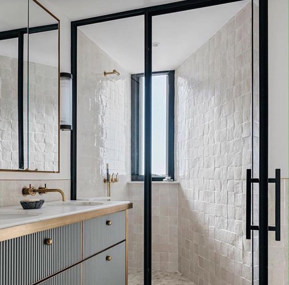 Love these rough square tiles so much, but the grout cleaning! … The vanity cabinet, brass gold and shaving cabinet is all a big YES!