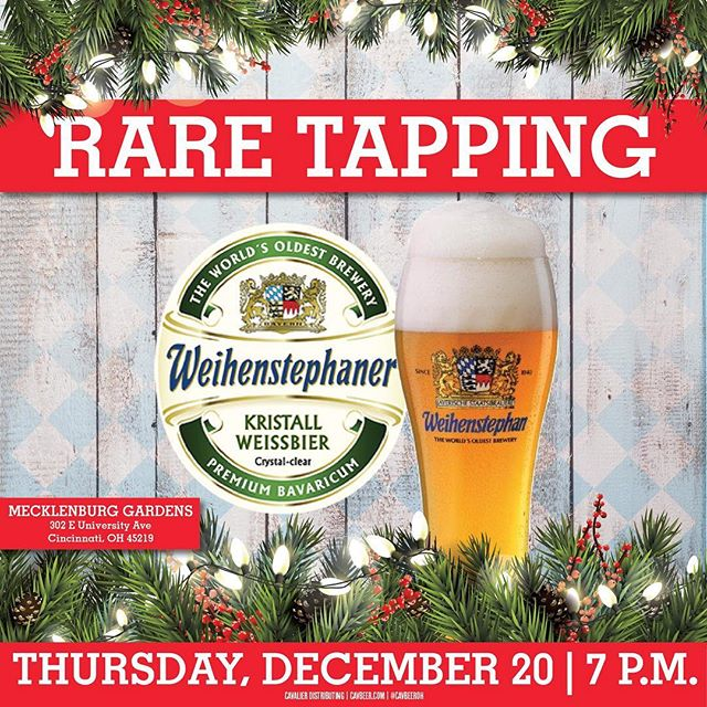 What a way to end this year's monthly keg tappings! Join us TONIGHT for our free event in our Bier Hall.  Enjoy a live band and try the worlds oldest brewery: Weihenstephan 🍻🍻 we will be feat. their Kristall (a filtered Hefeweizen). Come early to get a good seat and order some dinner! #freeevent #cometryitforfree