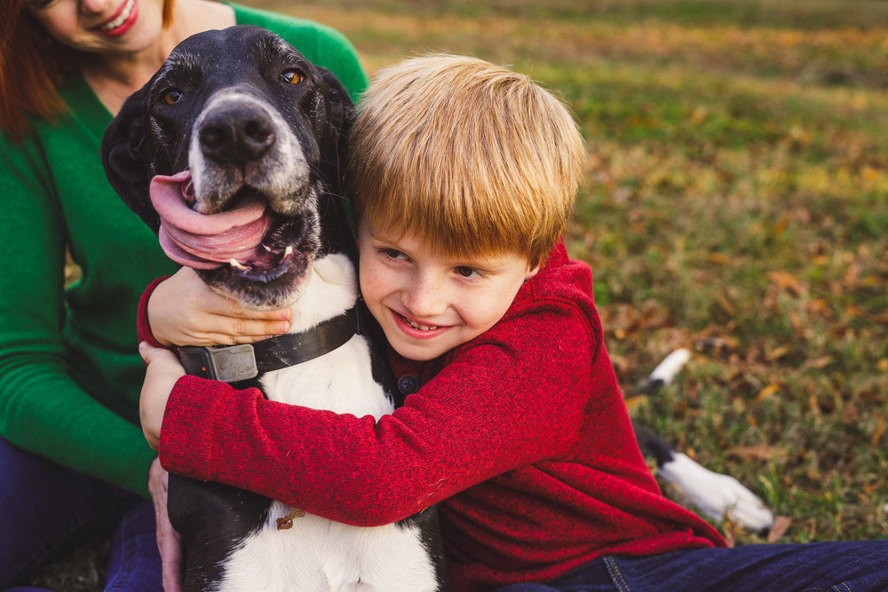 thomas wywrot photography nashville family photographer fall outdoor leaves pictures photos dog mother son mom franklin brentwood smiles barn dog puppy pet