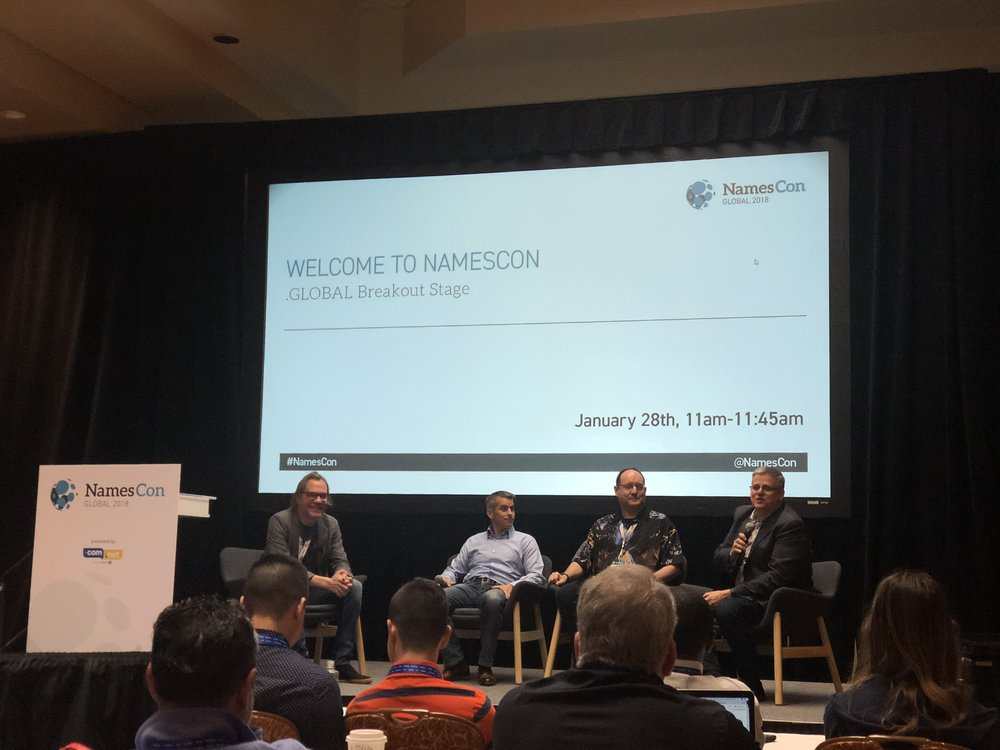 """Welcome to NamesCon"" opening session with event moderators and NamesCon President, Soeren Von Varchmin, on what to expect at NamesCon 2018."