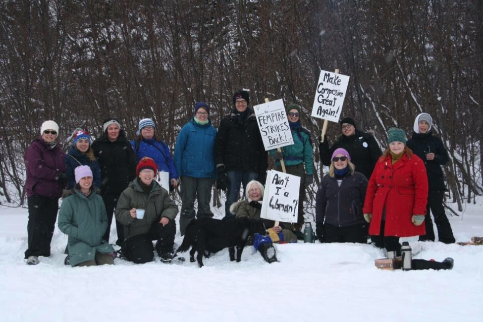 Northwest River Women's (Snowshoe) March, photo credit: Women's March Canada