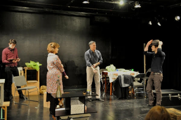 In rehearsal: SNOW ORCHID L to R David McElwee, Angelina Fiordellisi, Robert Cuccioli, Stephen Plunkett. Photo Credit, Jeremy Daniel