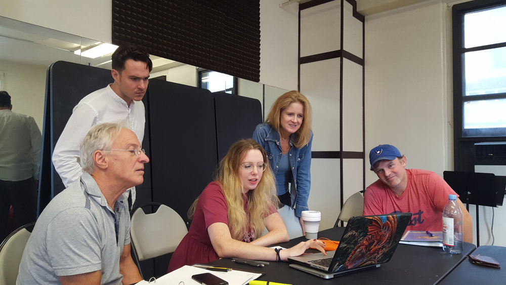 In rehearsal, WILLISTON L to R Robert LuPone, Drew Ledbetter, Matsy Stinson, Kate Grimes, Adam Seidel. Photo Credit, Emrie Fimbres