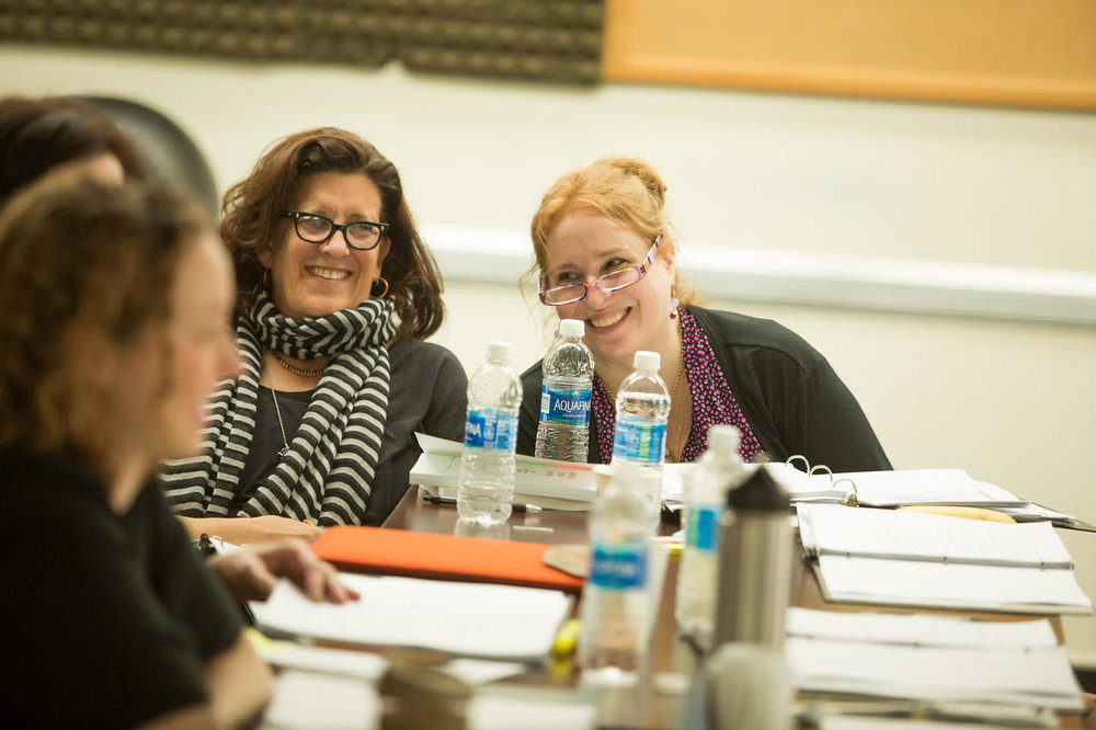 In Rehearsal: They Promised Her the Moon, playwright Laurel Ollstein, with Valentina Fratti. Photo credit, Jeremy Daniel.