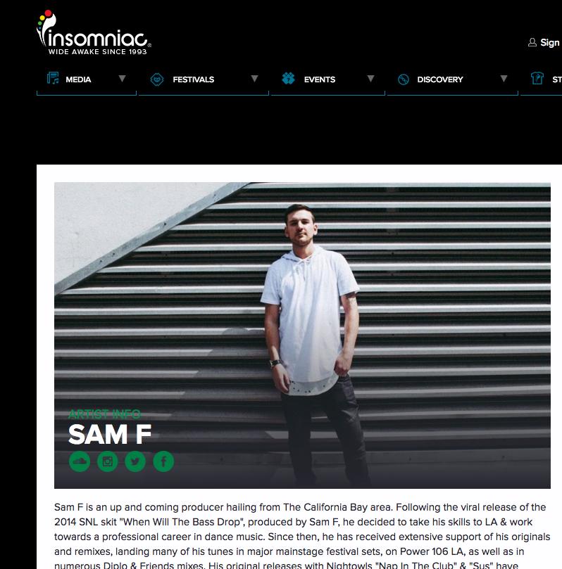 Sam F profile on Insomniac [INSOMNIAC RECORDS]