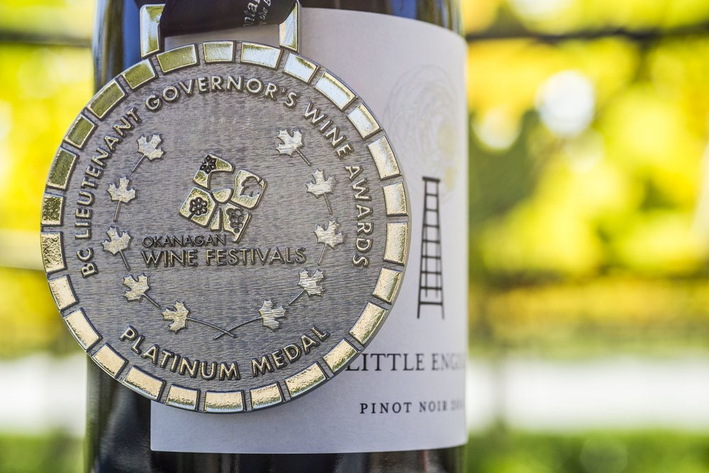 September 2018 - Platinum Medal received for Pinot - 2016 Silver Pinot Noir is awarded a Platinum Medal at the recent B.C. Lieutenant Governor Awards.