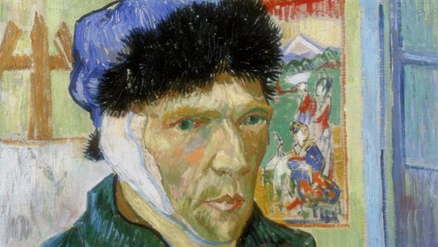 "(Detail) ""Self-Portrait with Bandaged Ear"" Vincent Van Gogh 1889"