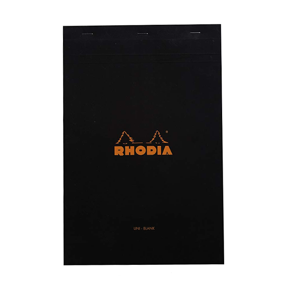 Rhodia Classic Black Notepad 8.25x12.5 Blank - Now, if you are going to draw with ink you need paper that wont cause the ink to feather or take forever to dry with. This paper is made for very wet dip and fountain pen use so it should take to drawing just fine.