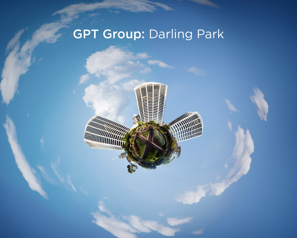 Aerial shot of Darling Park through a fish-eye lens