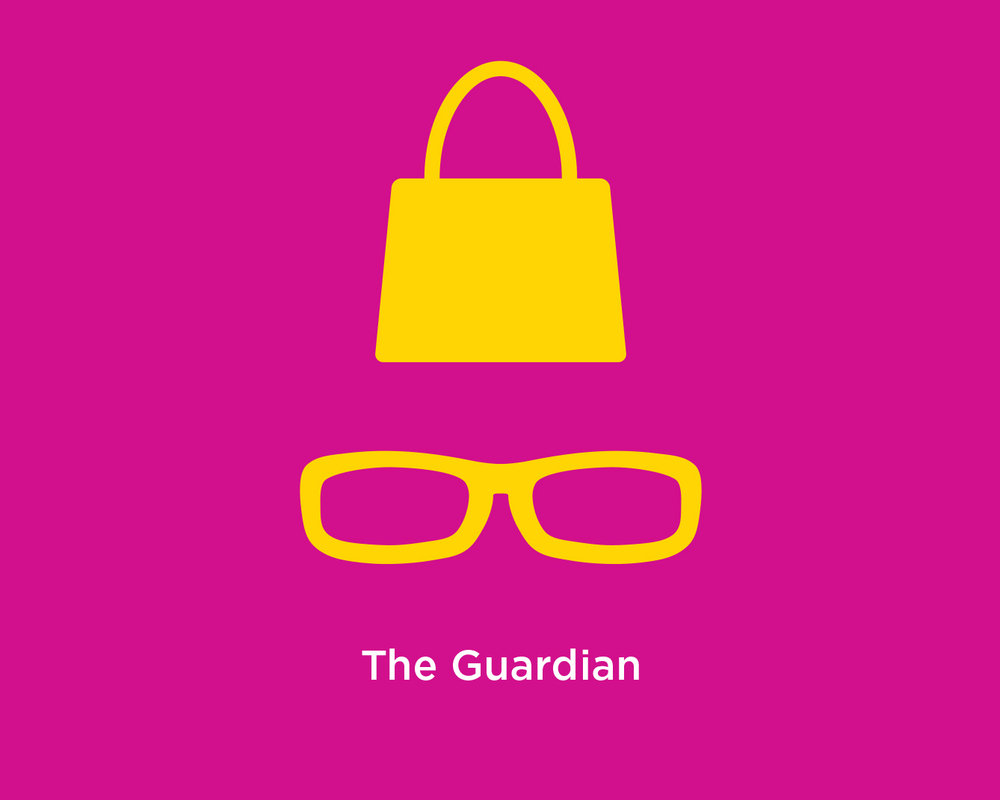 Illustration of handbag & sunglasses - poster for The Guardian