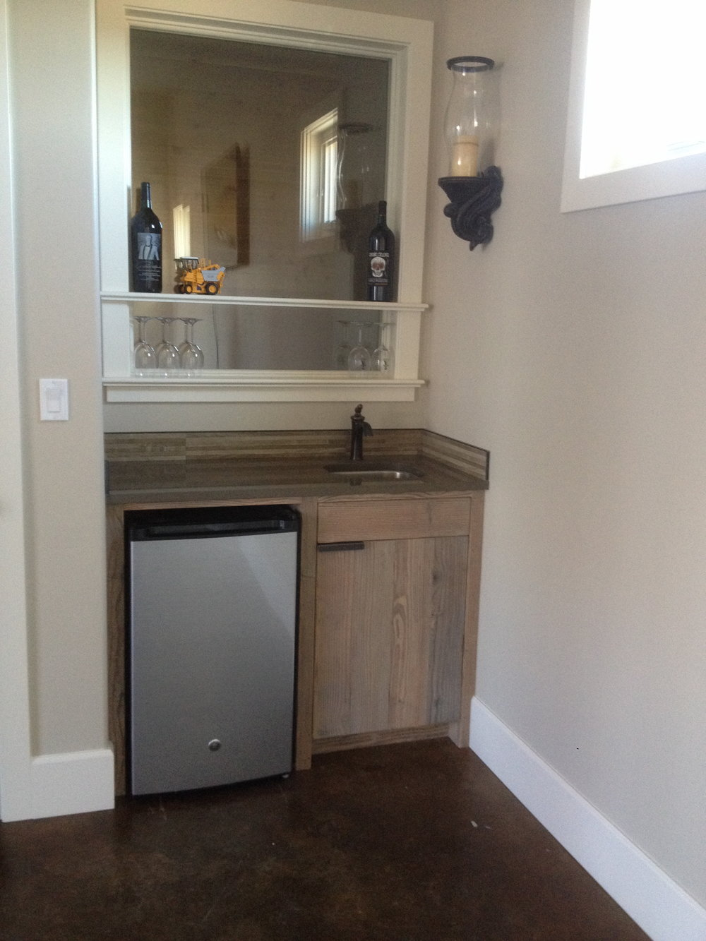 Wet bar from reclaimed douglas fir