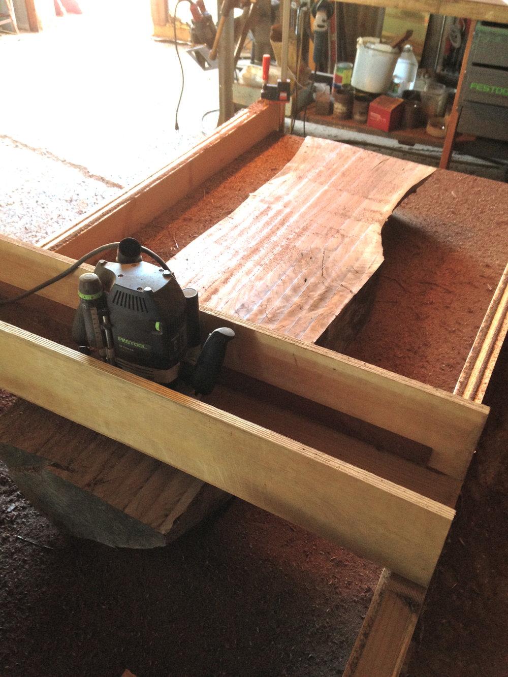 coffee table slab flattening