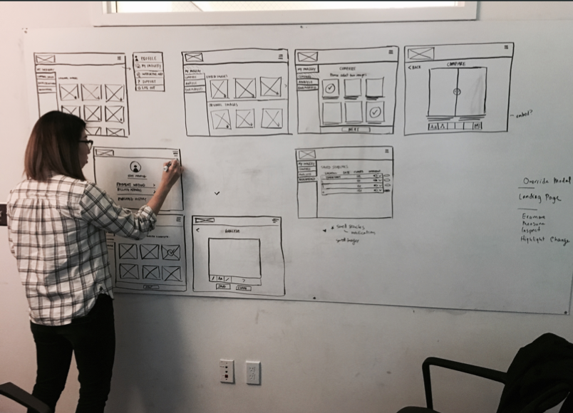 Initial concepts whiteboarding out the user interface