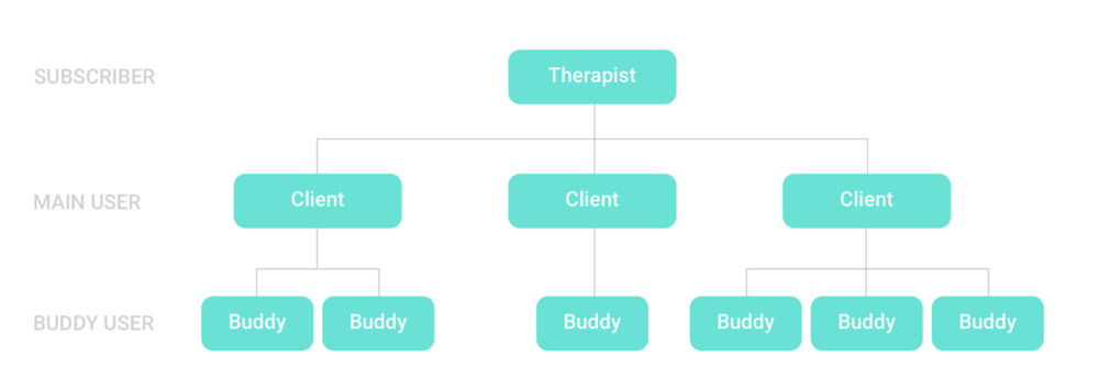 Atlas Customer Model: Clinic (subscriber) pays for app; main user (patient) is referred to the app by their therapist; a buddy is then invited to the app by the main user