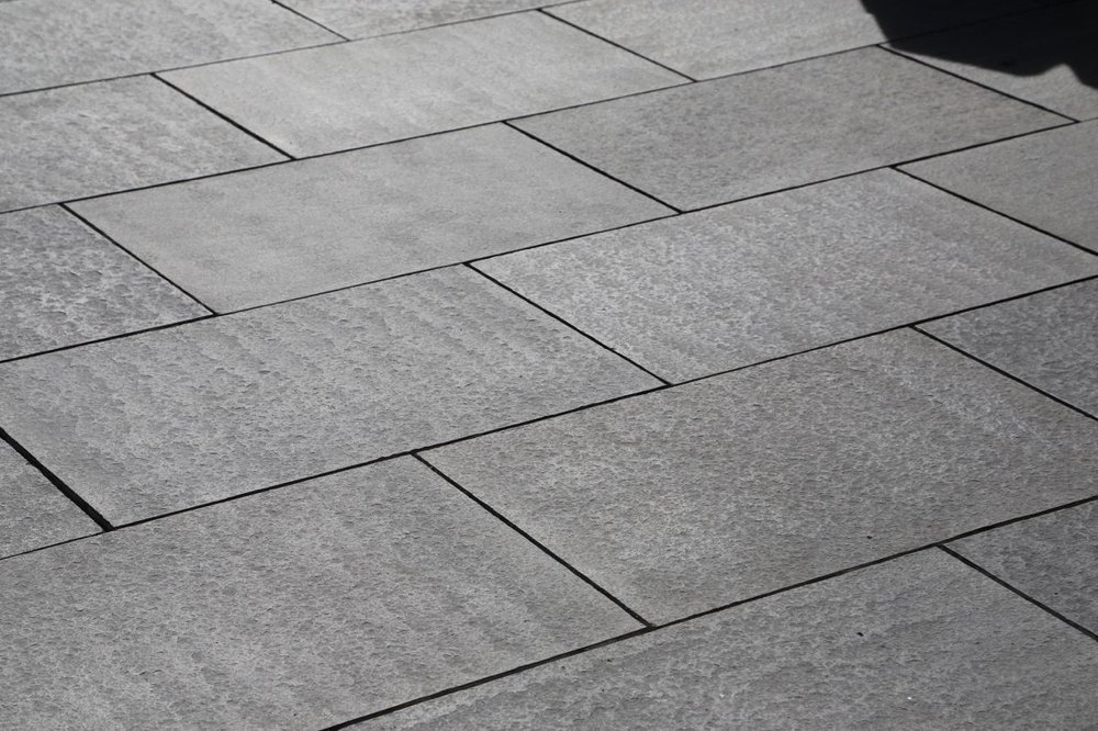 charming basalt pavers #2: Stone basalt pavers flush subway pattern