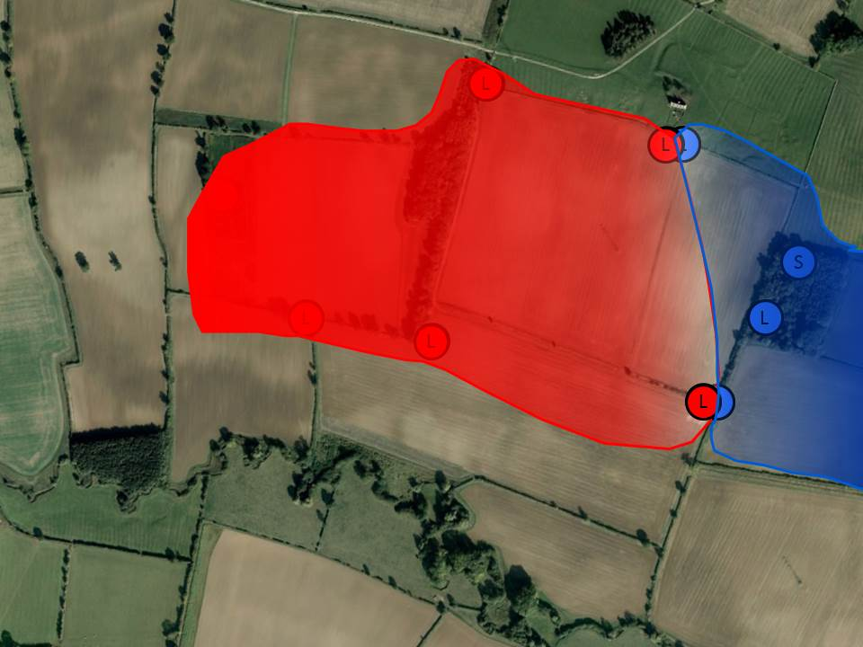 An example of the distribution of territory between two badger clans, coloured according to the bait colour used.