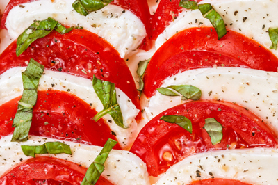 tomato, mozzarella and basil salad with rapeseed oil