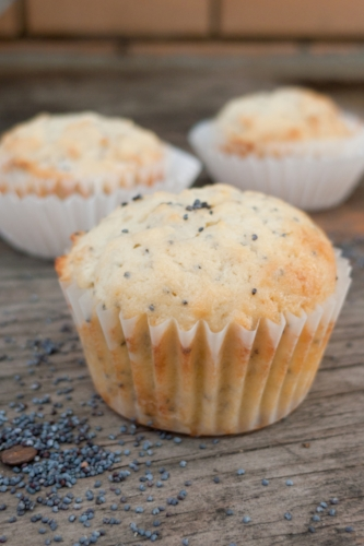 lemon muffins made with rapeseed oil
