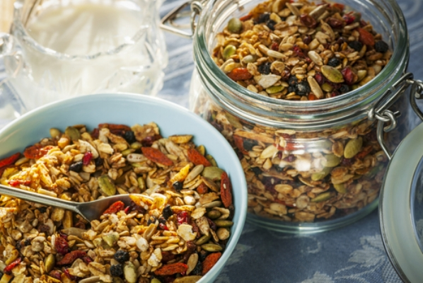 Healthy granola made with rapeseed oil