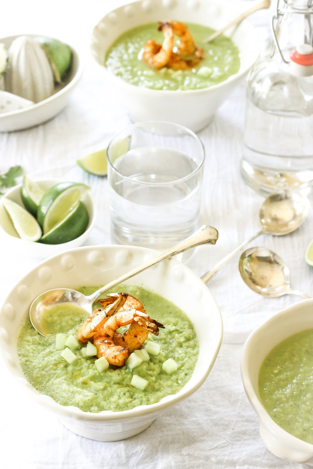 Pea and prawn soup with rapeseed oil