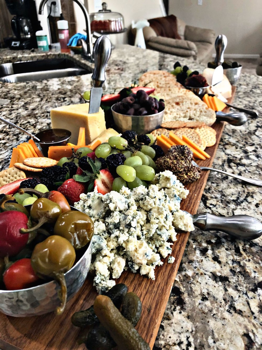 Cheese and cracker smorgasbord for Calidad Bliss
