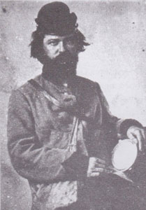 Pvt. James M. Higgins. Injured at Sharpsburg, rejoined Co. K in January 1863. Image supposed to have been taken between Fredericksburg and Chancellorsville.