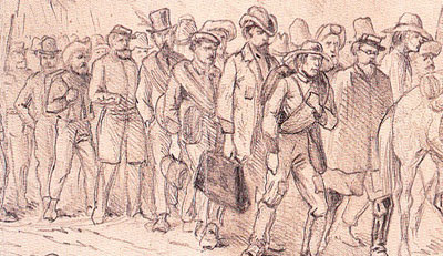 An Edwin Forbes sketch of Confederate Prisoners taken at Chencelloresville